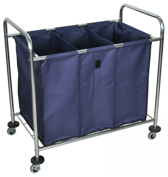 Luxor Industrial Laundry Cart With Steel Frame And Navy Canvas Bag With Dividers.