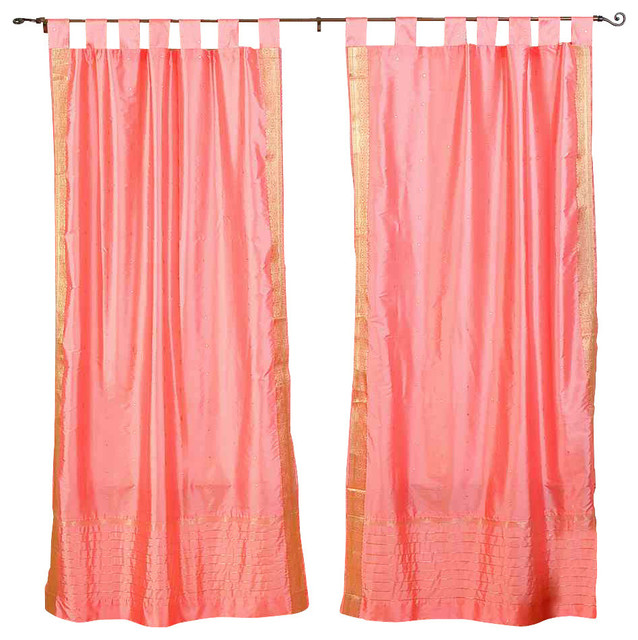 Pink Tab Top Sheer Sari Curtain Drape And Panel Pair Traditional Curtains By Indian