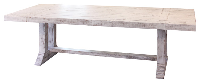 Penelope Farmhouse Solid Wood Dining Table White Large