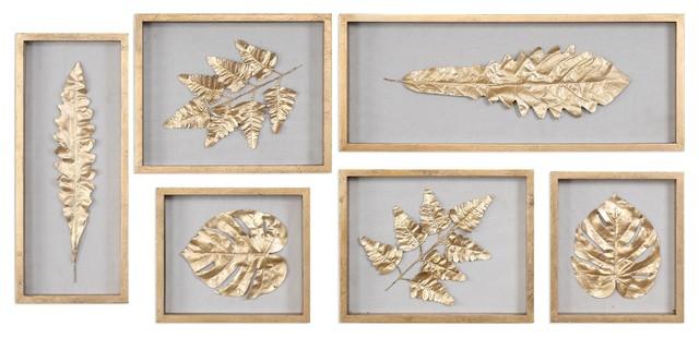Gold Leaf Shadowbox Wall Art, Panel Leaves Natural, 6-Piece Set.