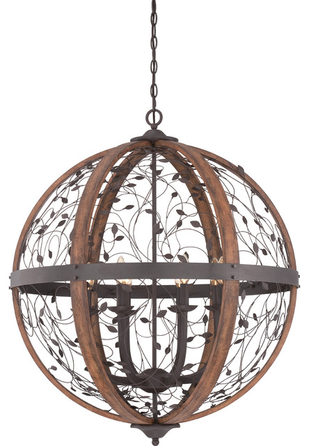 8 Light Standard Bulb Large Pendant, Darkest Bronze.