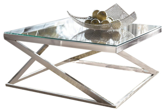 Coylin Square Cocktail Table, Brushed Nickel