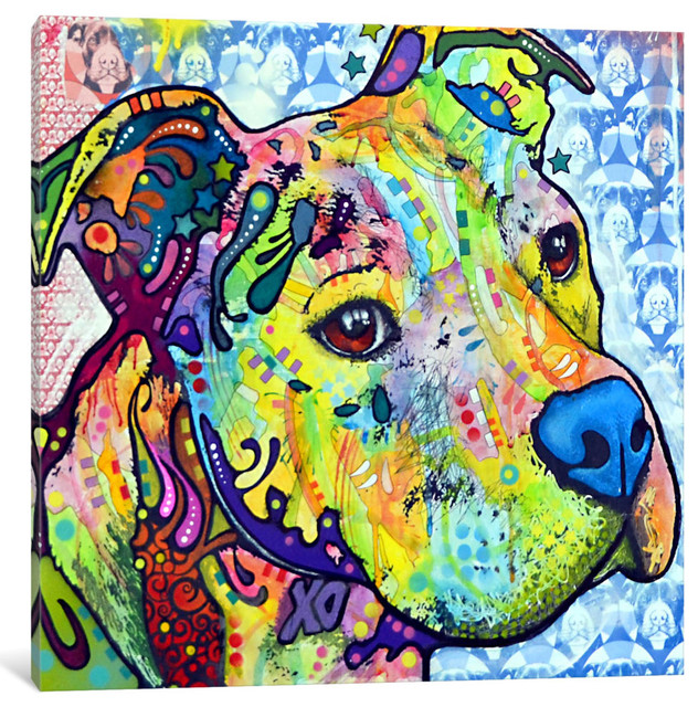 """""""thoughtful Pit Bull This Years I"""" By Dean Russo, 18x18x0.75""""."""