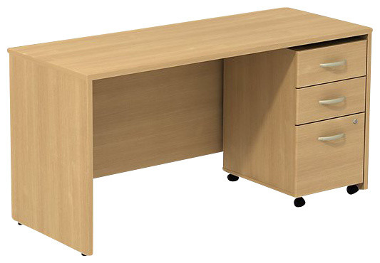 Bbf Series C 60w X 24d Credenza Shell Desk With 3-Drawer Mobile Pedestal.