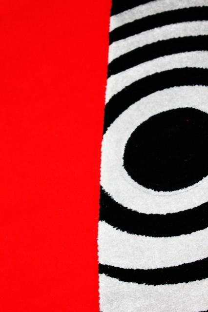 Red, White, Black Living Room Area Rugs, Geometric, Machine Made ...
