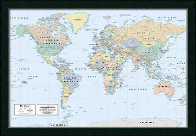 Framed Print '2016 World Map, Clic Political', Mapping Specialists on