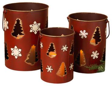Nested Red Holiday Luminaries, Set Of 3.