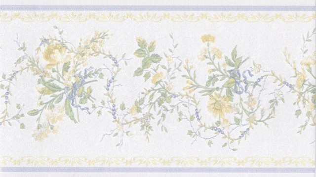 Wallpaper Border White Blue Yellow Elegant Fl Prepasted