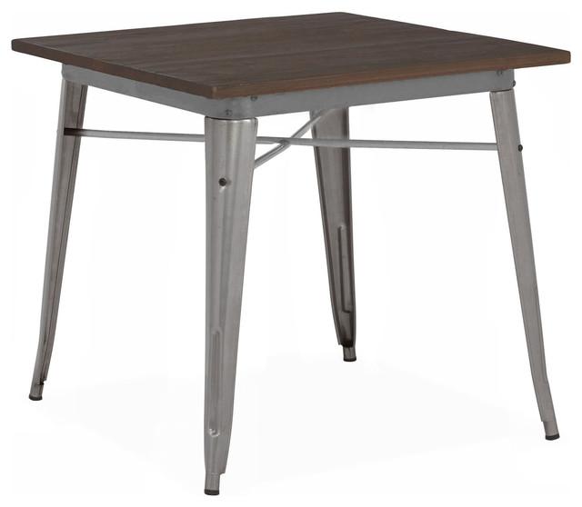 Dreux Gunmetal Elm Wood Steel Dining Table, Gunmetal Dark Wood