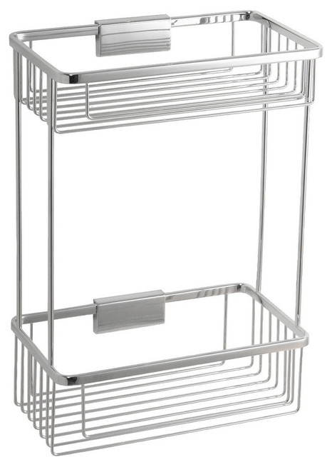 br wall shower caddy double shelf organizer for shampoo soap brass