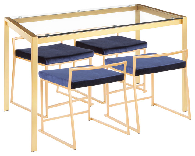 Fuji 5-Piece Contemporary/Glam Dining Set, Blue Velvet, Clear Glass, Gold Metal