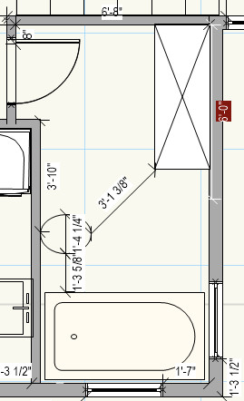 Photo Option 2 Floor Mount Toilet On North Wall And 4 Foot Soaker Tub 3x3 Shower