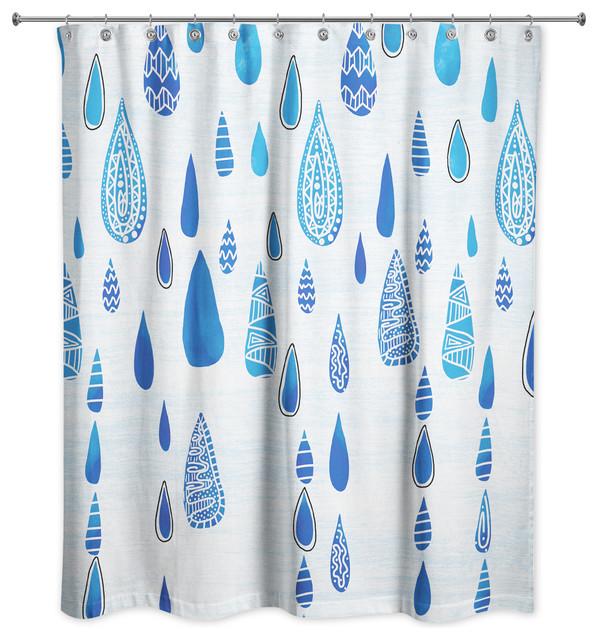 Tribal Blue Rain Drops Shower Curtain