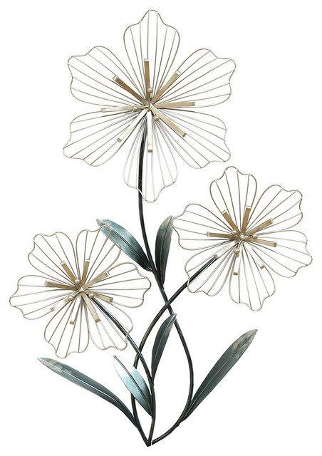 Stratton Home Decor Tri-Flower Wall Decor.