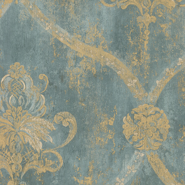 Light Green And Gold Damask Ch28248 Wall Covering Sample Small