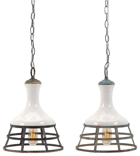 Imax worldwide home sandra ceramic and metal pendant lights set sandra ceramic and metal pendant lights set of 2 farmhouse pendant lighting mozeypictures Images