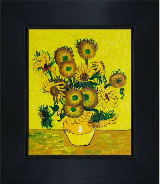 Vase With Fifteen Sunflowers Modern Paintings By Overstockart