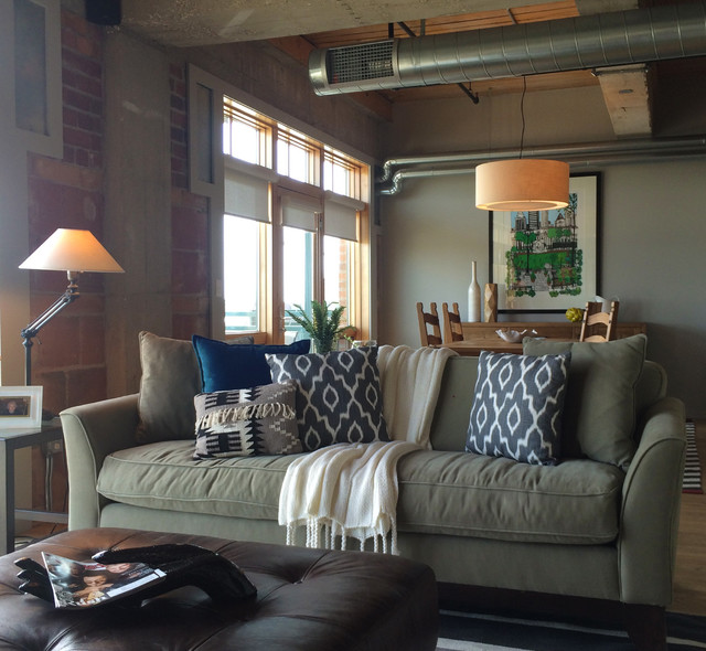 Man chic loft in des moines ia transitional living for Interior design des moines