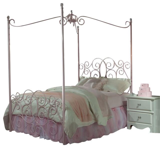 Standard Furniture Princess 5 Piece Kidsu0027 Canopy Bedroom Set In Pink Metal  Traditional