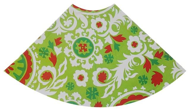 Holiday Red Green Suzani Global Holiday Tree Skirt Contemporary Christmas Tree Skirts