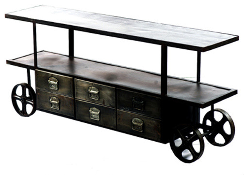 industrial media stand on wheels with storage industrial