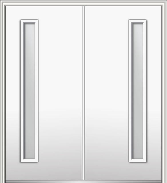 """Frosted 1-Lite Fiberglass Smooth Double Door 74"""" X 81.75"""" Right Hand In-Swing."""