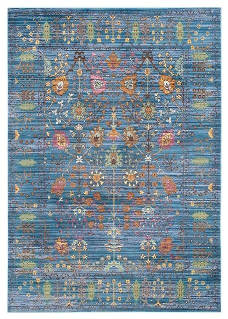 Rectangular Floral Area Rug, Blue, 9&x27;x6&x27;.