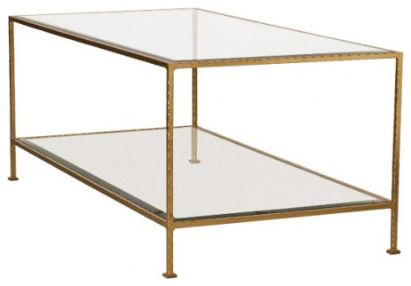 Lovely Worlds Away Taylor Hammered Metal Rectangular Gold Leaf Coffee Table