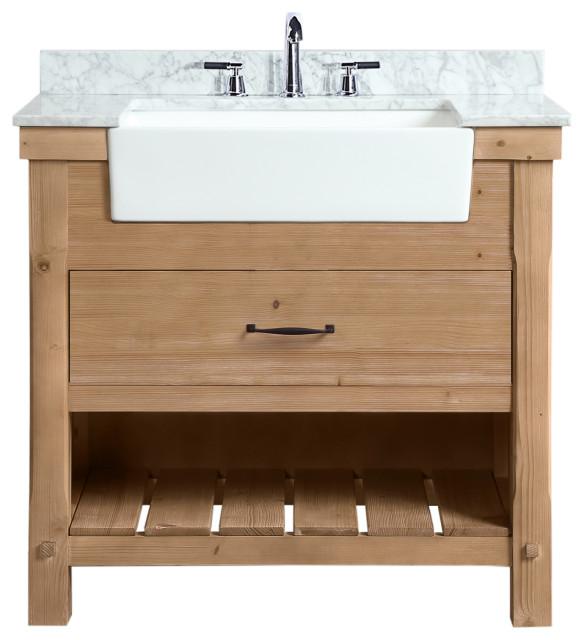 "Marina 36"" Bathroom Vanity, Driftwood Finish"
