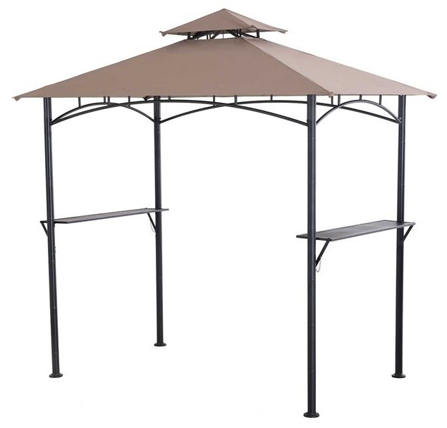 Indigo Grill Gazebo, Bamboo Posts With Led Lights.