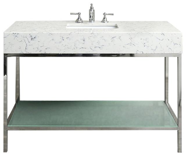 """Bathroom Vanity Set, Stainless Steel, 48""""."""