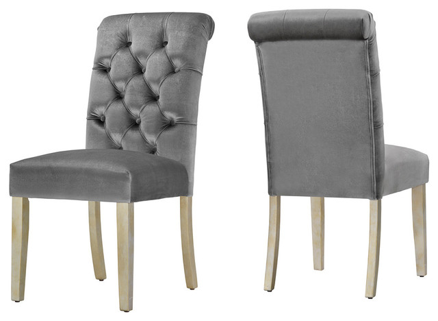 Rosalyn Velvet Button Tufted Dining Chair, Set Of 2, Charcoal Silver by Inspire Q