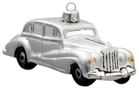Car Christmas Ornaments.Silver Vintage Car Ornament