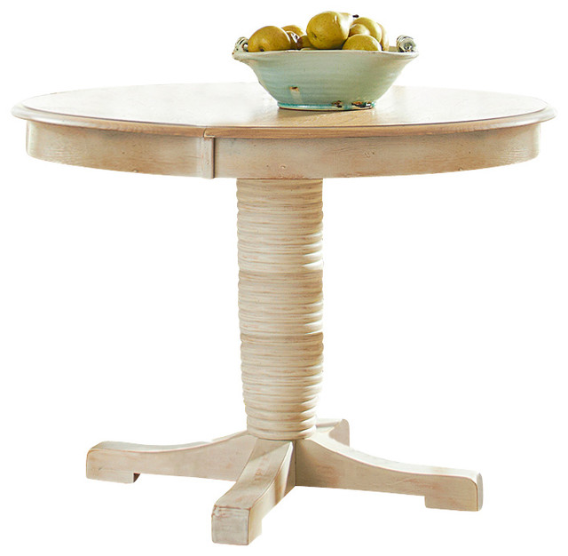 Oval Pedestal Casual Dining Table With Weathered Sand And
