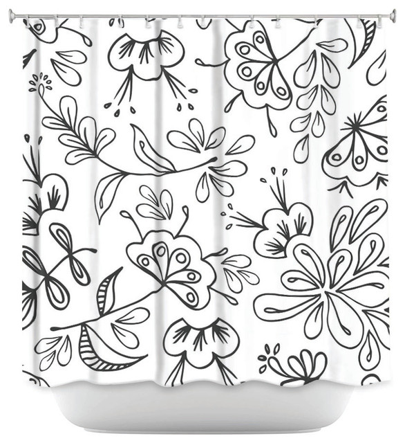DiaNoche Designs Shower Curtain By Zara Martina Band With Flora Contemporary Curtains