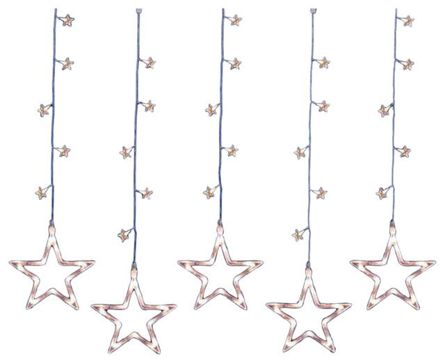 Led Clear Star Silhouette Window Curtain Christmas Lights.