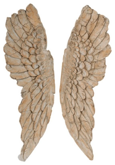 Angel Wings Statue Wall Art, Set Of 2, Brown.