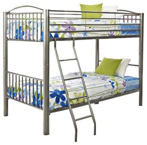 Heavy Metal Twin Over Twin Bunk Bed, Pewter.