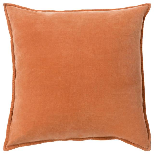 Surya Cotton Velvet 13x19x0.25 Orange Pillow Cover.