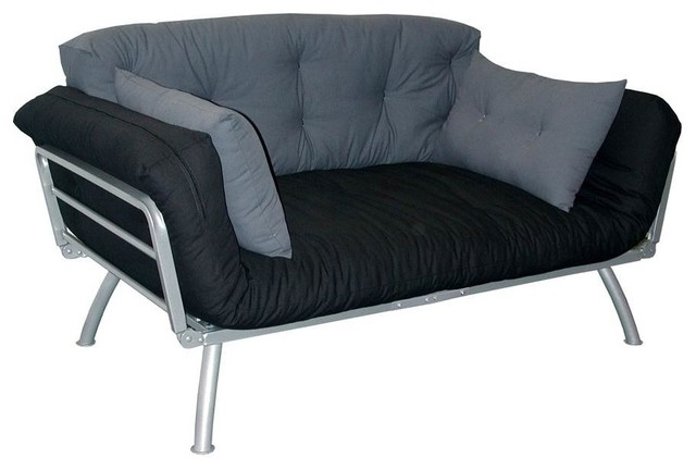 Mali Flex Futon And Black And Gray Cushions.