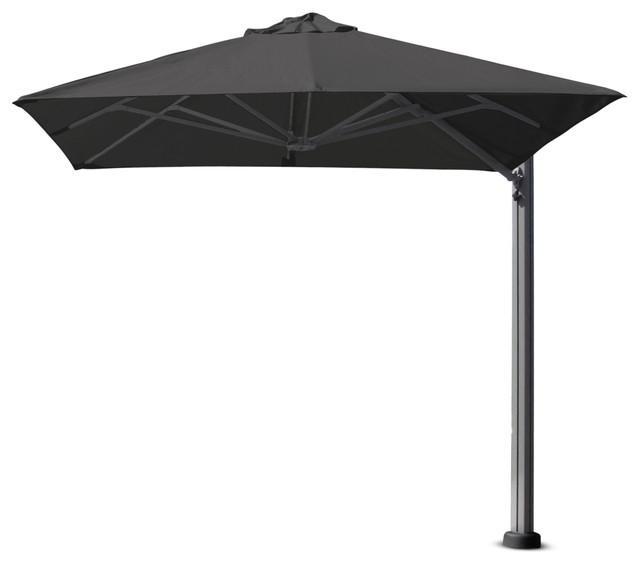 "8&x27;2"" Square Uno Charcoal Umbrella, Portable Base And Led Lights"