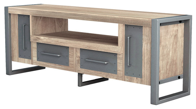 Asta Teak And Iron Media Console Industrial Modern