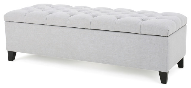 Charleston New Velvet Tufted Storage Ottoman Light Gray  sc 1 st  Houzz & Charleston New Velvet Tufted Storage Ottoman - Midcentury ...