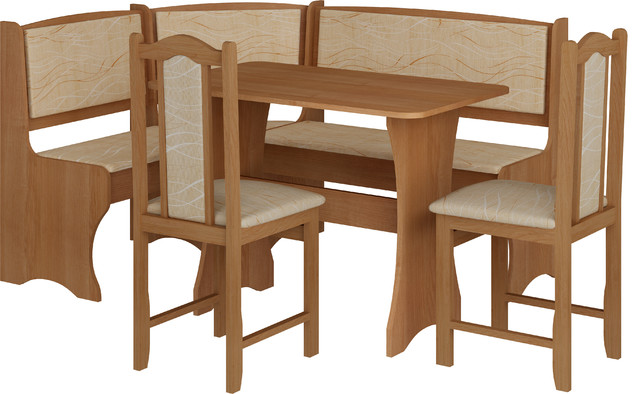 Breakfast Kitchen Nook Table Set, L-Shaped Storage Bench With Chairs, Alder