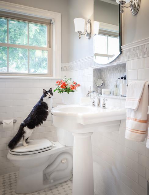 Custom marble mosaic vanity niche in white bathroom - Custom bathroom vanities houston ...