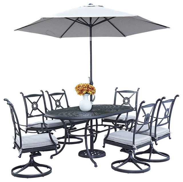 Athens Outdoor 7 Piece Dining Set With Oval Table Swivel  : traditional outdoor dining sets from www.houzz.com size 640 x 636 jpeg 93kB