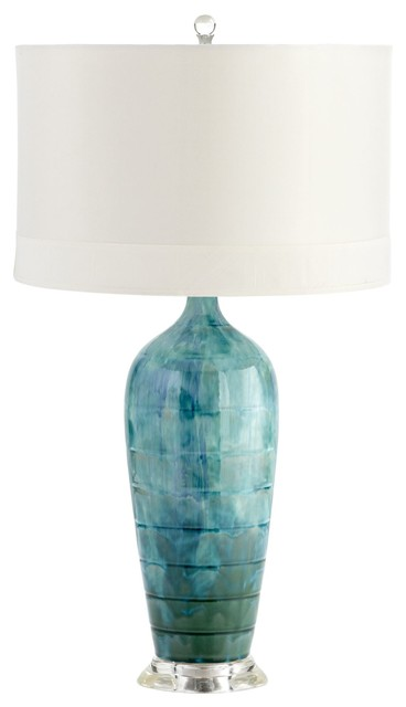 Elysia Contemporary Teal Ceramic Table Lamp Modern Table Lamps