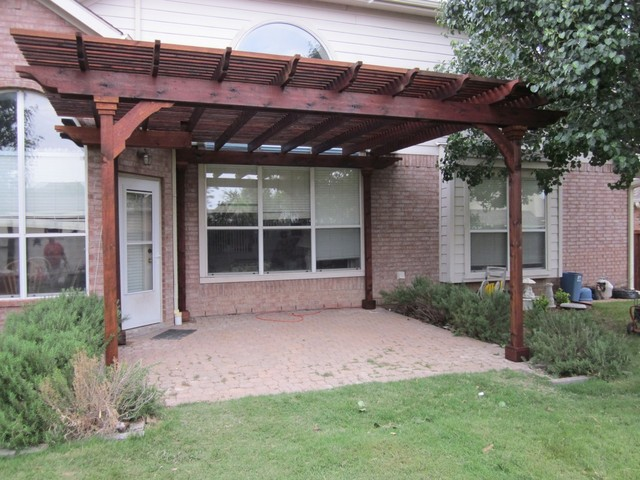 Stained Cedar Lattice Patio Cover Dallas By Texas Best