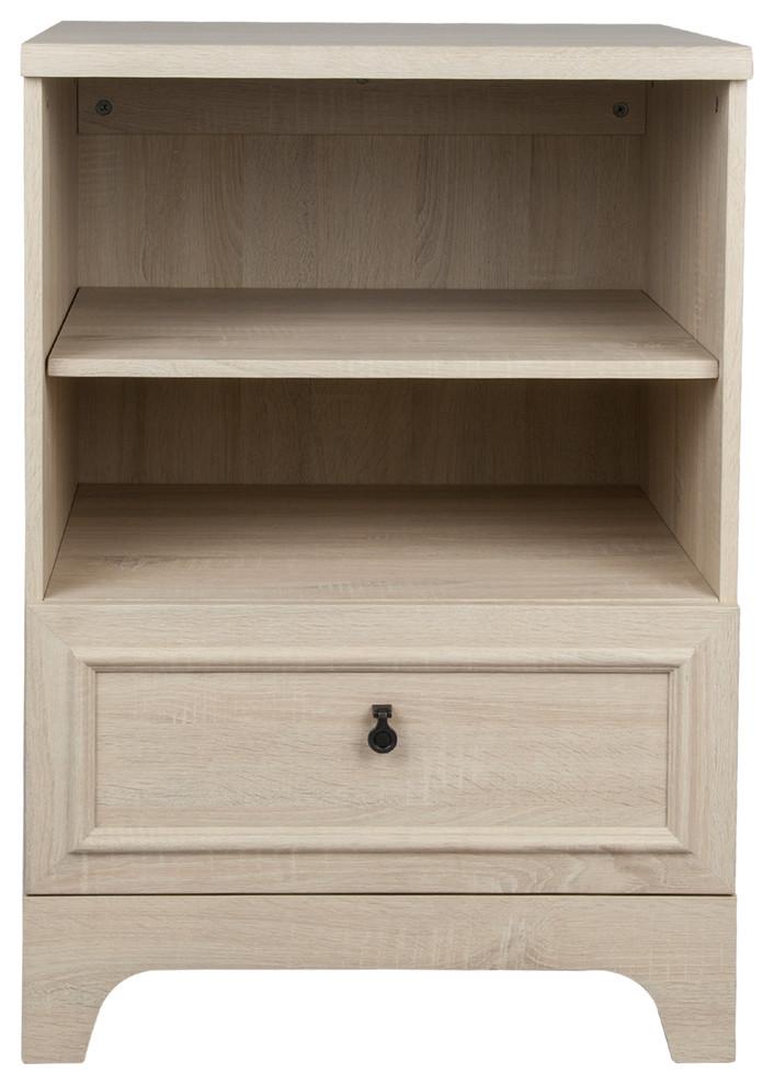 2-Shelf 1-Drawer Side Cabinet, White Wash - Transitional ...