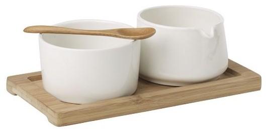 Sugar + Creamer Set on Bamboo Tray